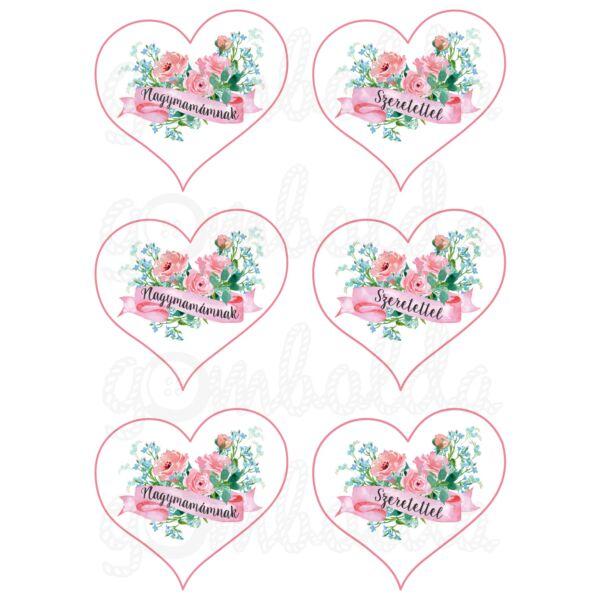 Mintás barkácsfilc - Nagymamámnak szeretettel - szívekben