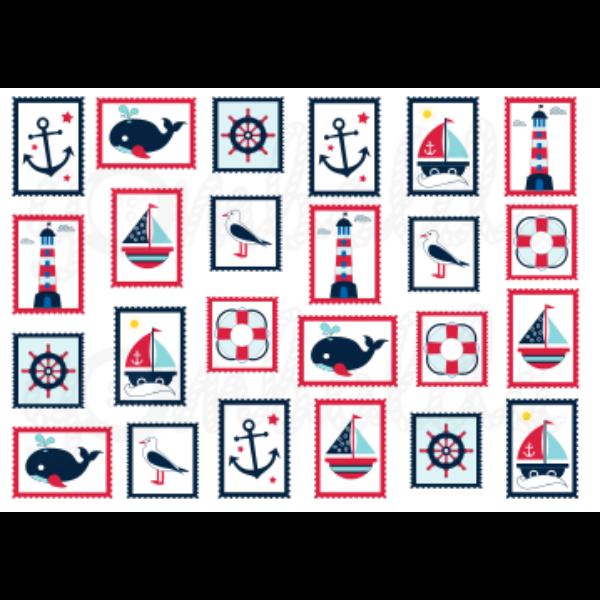 Mintás barkácsfilc - tengerész - 5db vagy 10db