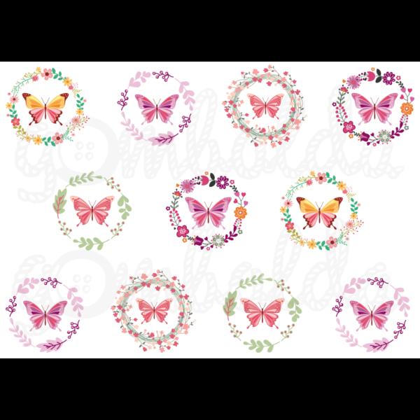 Mintás barkácsfilc - pillangós koszorúk - 5db vagy 10db