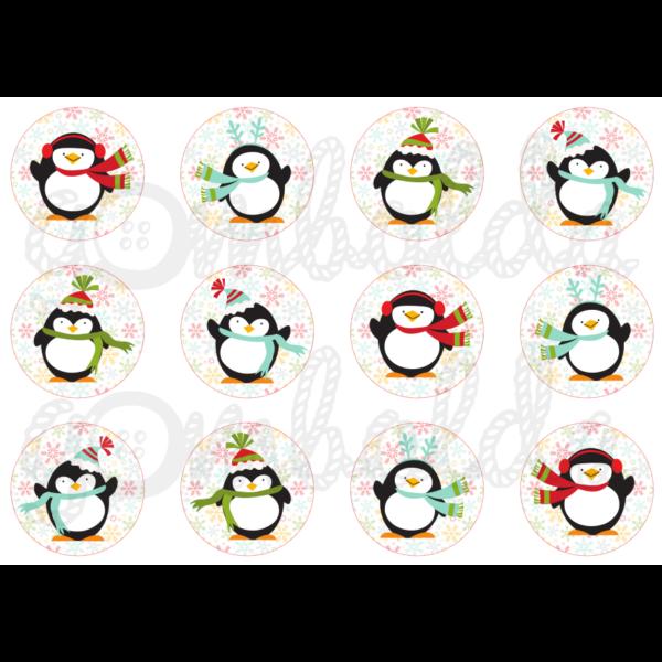 Mintás barkácsfilc - vidám pingvinek hópelyhes körökben - 5db vagy 10db