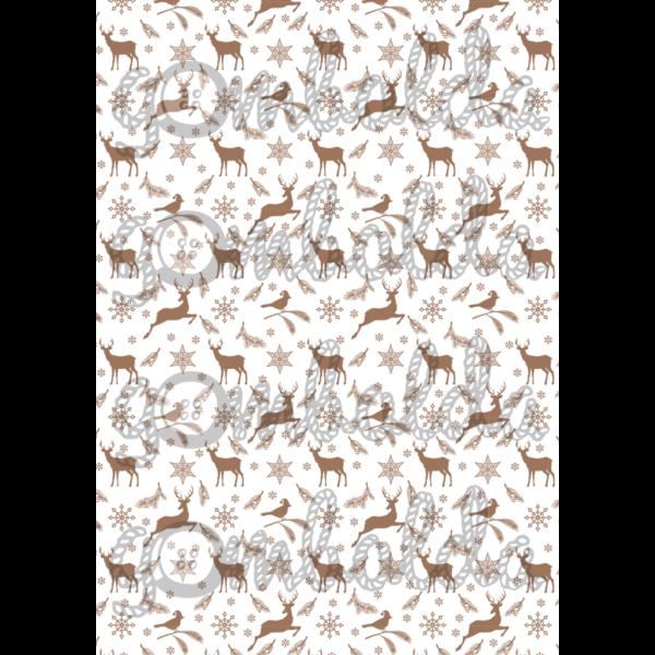 Mintás barkácsfilc - rénszarvasok madarakkal - barna - 5db vagy 10db