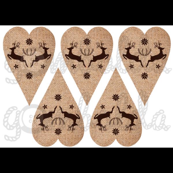 Mintás barkácsfilc - barna rénszarvasok juta szívekben - 5db vagy 10db