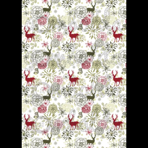Mintás barkácsfilc - rénszarvasok virágokkal - 5db vagy 10db
