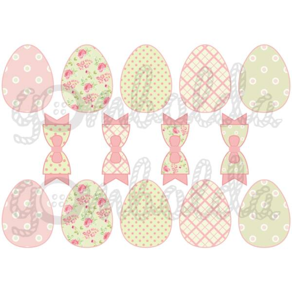 Mintás barkácsfilc - rózsás pöttyös húsvéti tojások és masnik - 5db vagy 10db