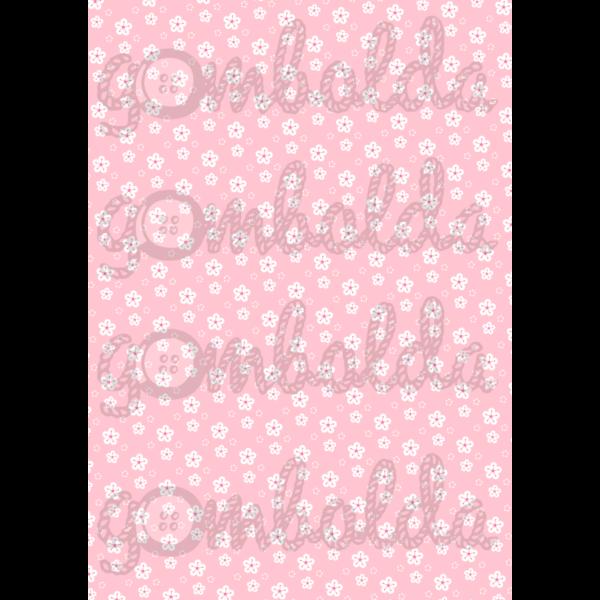 Mintás barkácsfilc - rózsaszín alapon fehér virágok - 5db vagy 10db