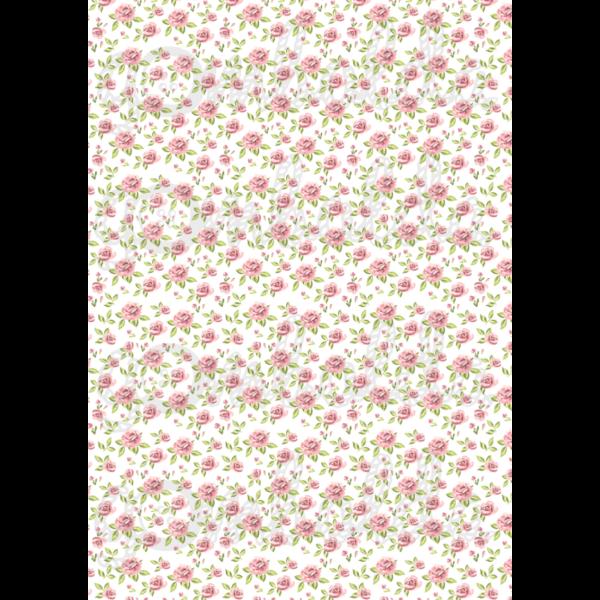 Mintás barkácsfilc - apró rózsaszín rózsák - 5db vagy 10db