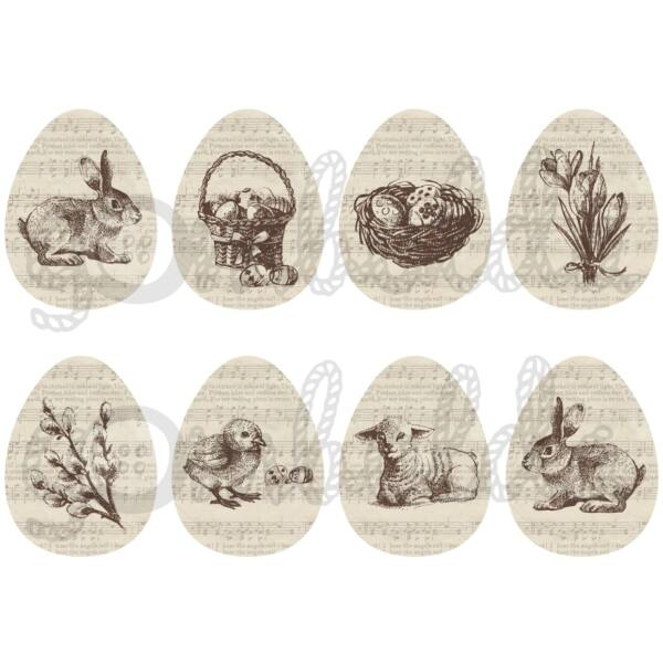 Mintás barkácsfilc - rajzolt húsvét kottás tojásokon - 5db vagy 10db