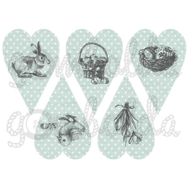 Mintás barkácsfilc - rajzolt húsvét pöttyös szívekben - menta szürke - 5db vagy 10db