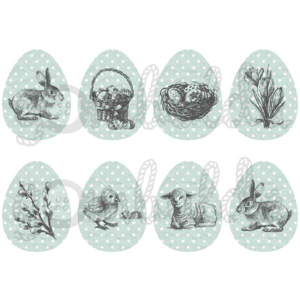 Mintás barkácsfilc - rajzolt húsvét pöttyös tojásokon - menta szürke - 5db vagy 10db