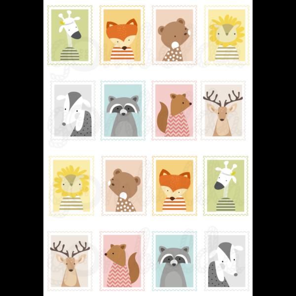 Mintás barkácsfilc - állatos bélyegek - 5db vagy 10db