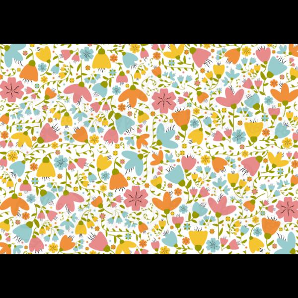 Mintás barkácsfilc - retro virágok - 5db vagy 10db