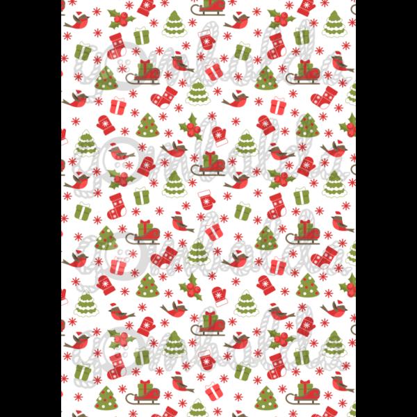 Mintás barkácsfilc - karácsonyi robin piciben - 5db vagy 10db