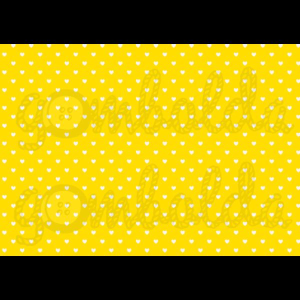 Mintás barkácsfilc - sárga alapon fehér szívek - 5db vagy 10db