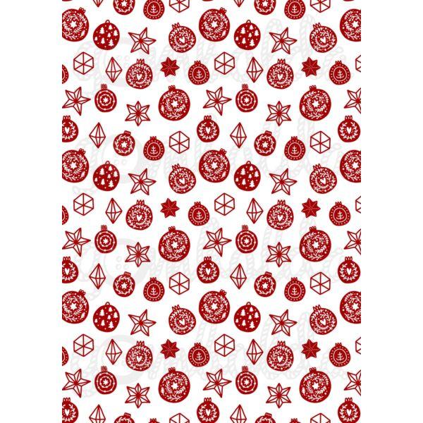 Mintás barkácsfilc - Scandi Christmas piros - karácsonyi gömbök