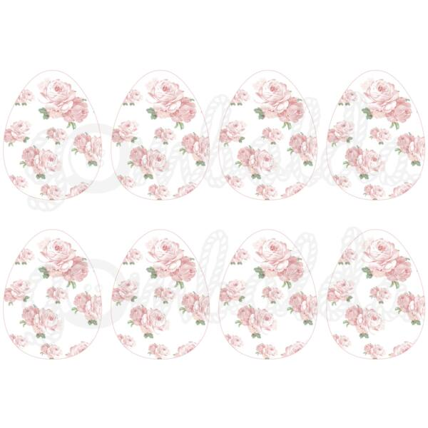 Mintás barkácsfilc - shabby chic rózsás tojások - fehér - 5db vagy 10db