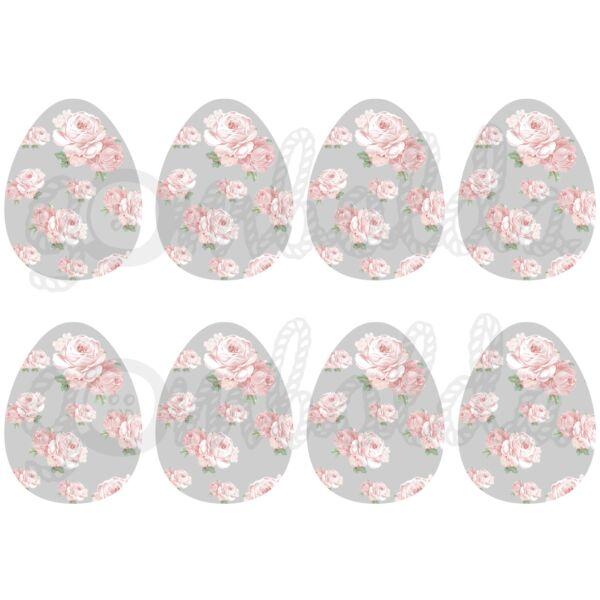 Mintás barkácsfilc - shabby chic rózsás tojások - szürke - 5db vagy 10db