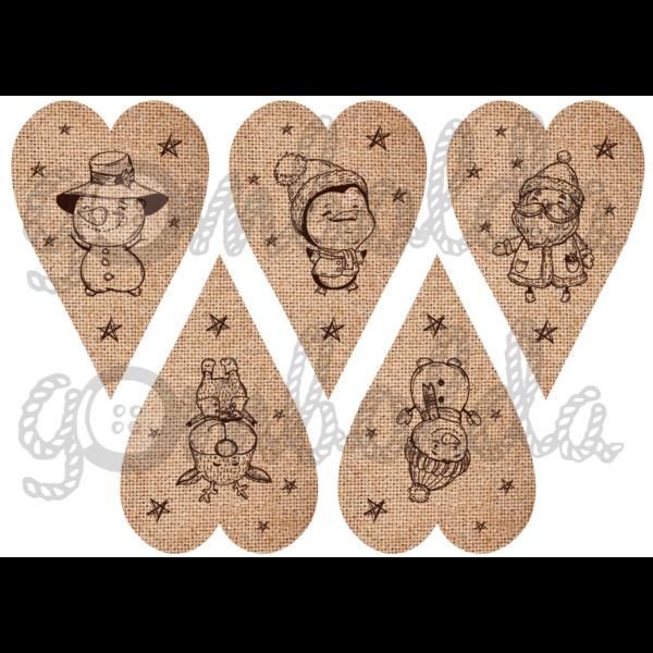 Mintás barkácsfilc - rajzolt karácsonyi figurák juta szívekben - 5db vagy 10db