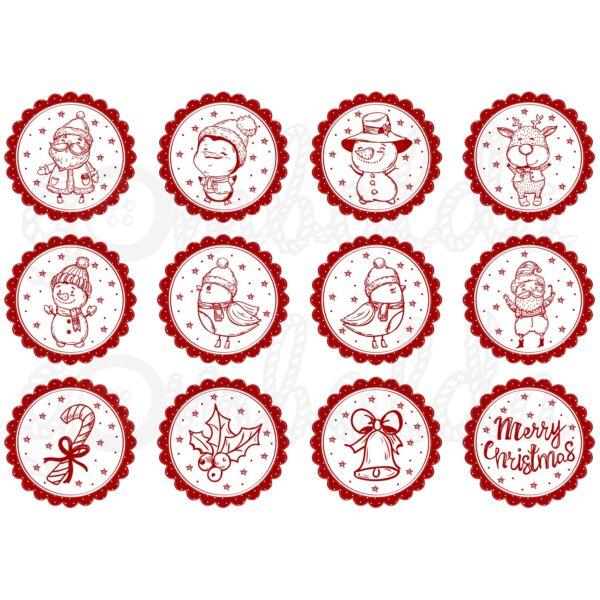 Mintás barkácsfilc - rajzolt karácsonyi figurák - piros