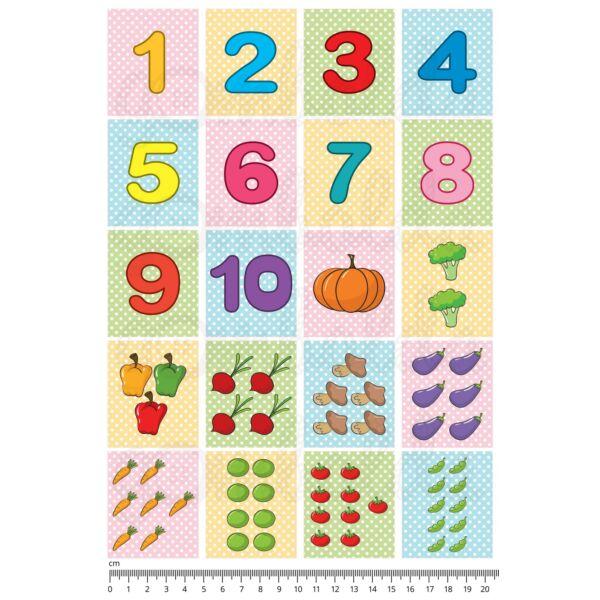 Mintás barkácsfilc - számolós kártyák - zöldségek