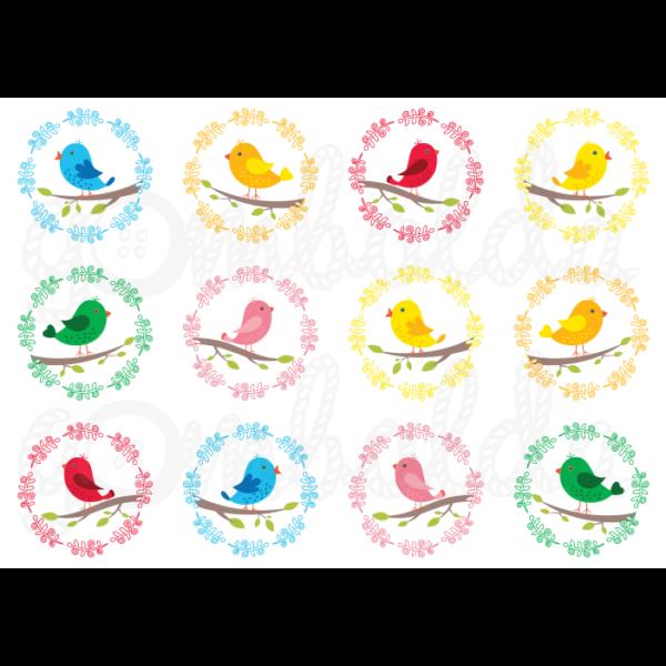 Mintás barkácsfilc - tavaszi madárkák faágon - 5db vagy 10db