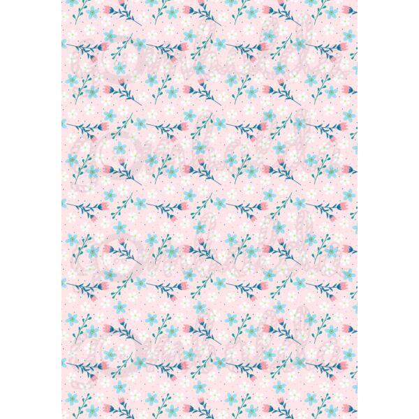 Mintás barkácsfilc - tavaszi virágos minta - rózsaszín alapon