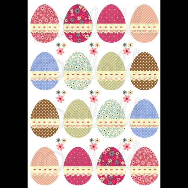 Mintás barkácsfilc - hímes tojások tűzött szalaggal - 5db vagy 10db
