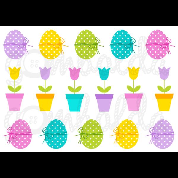 Mintás barkácsfilc - pöttyös tojások és tulipánok - 5db vagy 10db