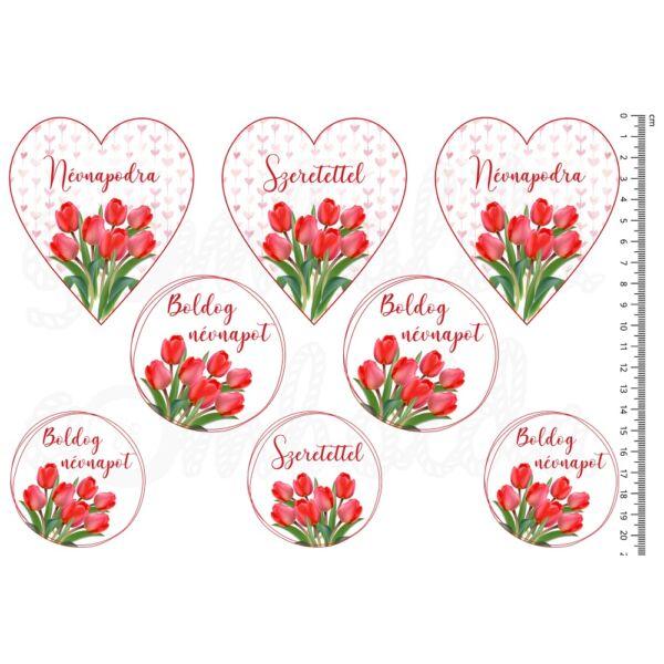 Mintás barkácsfilc - tulipános névnapi ív