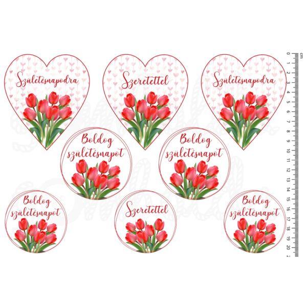 Mintás barkácsfilc - tulipános születésnapi ív