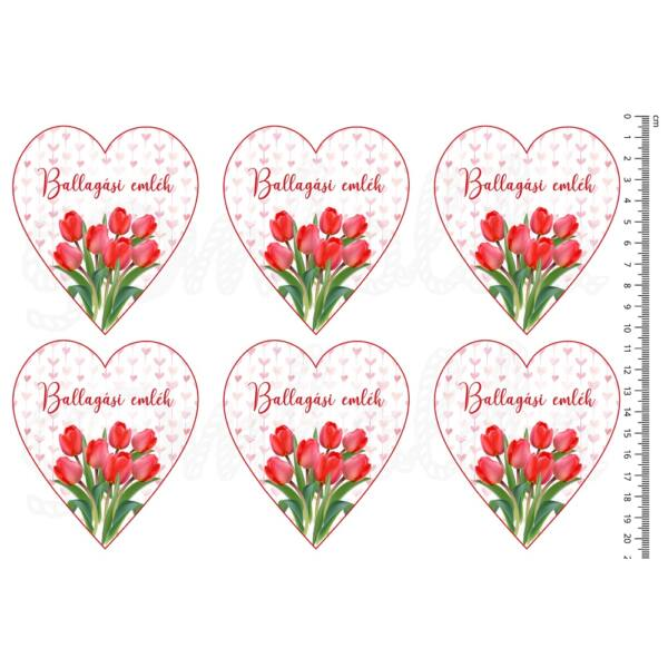 Mintás barkácsfilc - tulipános szívek - Ballagási emlék