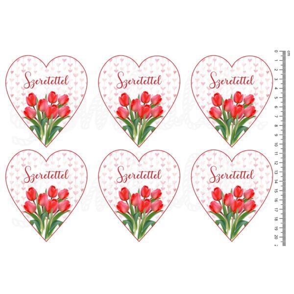 Mintás barkácsfilc - tulipános szívek - Szeretettel