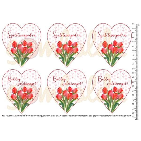 Mintás barkácsfilc - tulipános születésnapi szívek