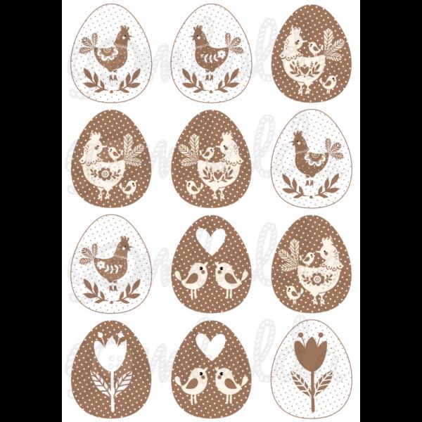 Mintás barkácsfilc - barna fehér tyúkocskák tojásokban - 5db vagy 10db