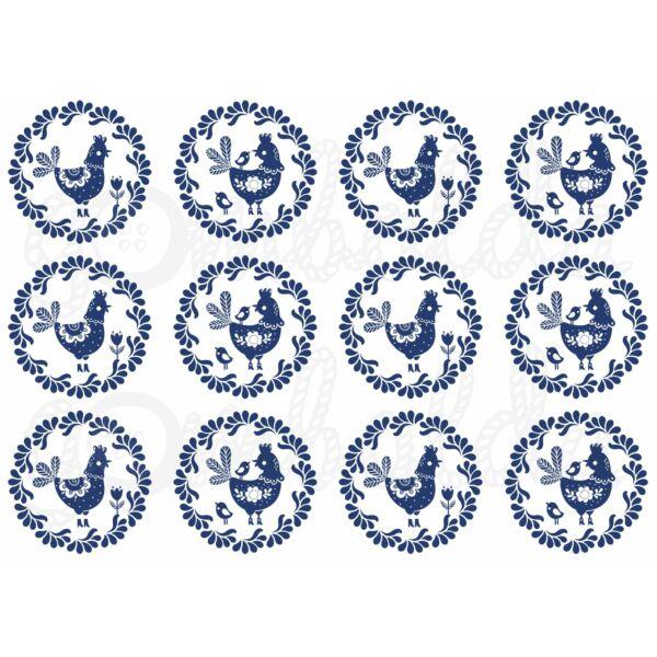Mintás barkácsfilc - kék fehér tyúkocskák körökben