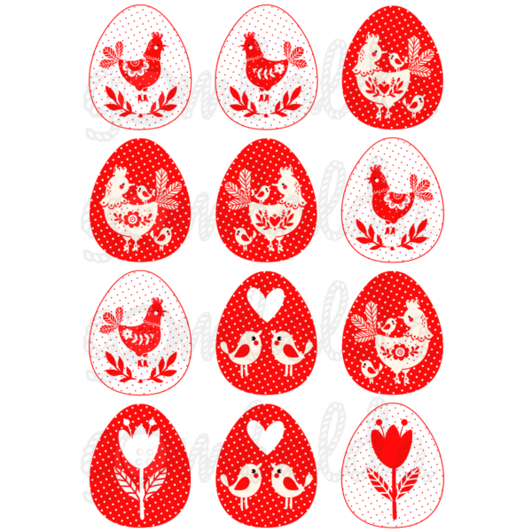 Mintás barkácsfilc - piros fehér tyúkocskák tojásokban - 5db vagy 10db