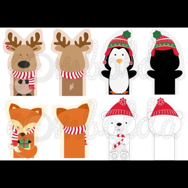 Mintás barkácsfilc - karácsonyi ujjbábok - téli állatok - 5db vagy 10db