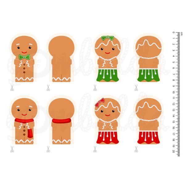 Mintás barkácsfilc - karácsonyi ujjbábok - mézi figurák
