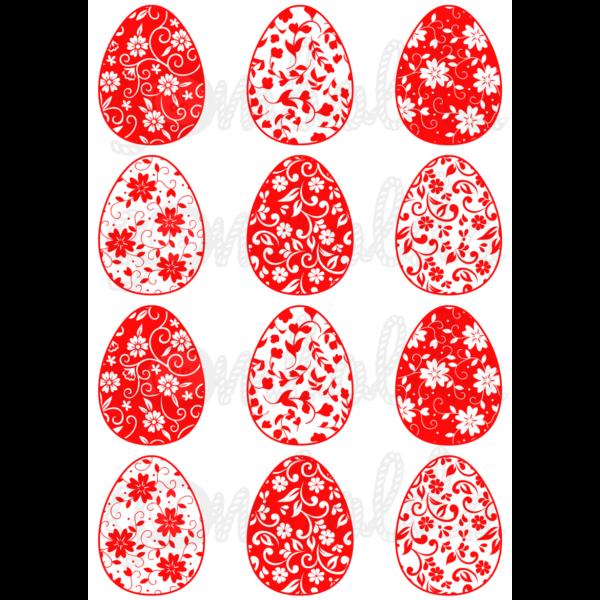 Mintás barkácsfilc - virágos tojások - piros - 5db vagy 10db