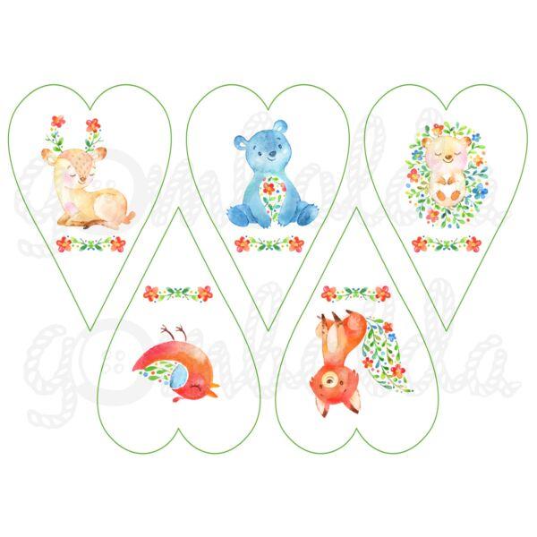 Mintás barkácsfilc - helló tavasz - állatok szívekben - 5db vagy 10db