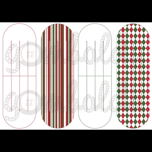 Mintás barkácsfilc - szív dísz alap - piros zöld - 5db vagy 10db
