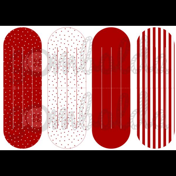 Mintás barkácsfilc - szív dísz alap - piros pöttyös csíkos - 5db vagy 10db