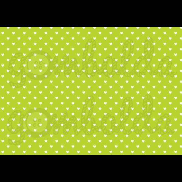 Mintás barkácsfilc - zöld alapon fehér szívek - 5db vagy 10db